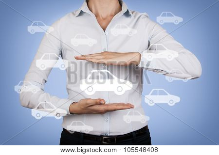 Car Insurance Concept Between Human Hand