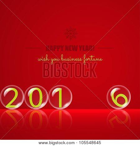 Transparent rolling glass balls on red background
