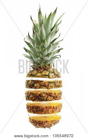 cut ananas isolated on white background
