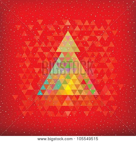 Christmas red background with abstract geometric Christmas tree.
