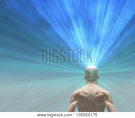 Man radiates light from text on his skin   The text is from HG Wells The Time Machine and has been in the public domain for many decades, no release needed