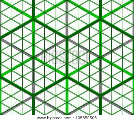 Green Abstract Interweave Geometric Seamless Pattern, Eps10. Bright Illusory Backdrop