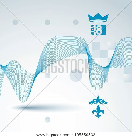 Sophisticated 3D Waved Decoration, Clear Eps 8 Vector Illustration, Motif Background With Five Stars