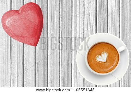 Wooden Pink Heart And Coffee Cup On White Wooden Texture Close-up
