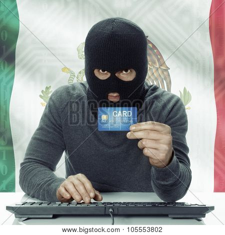 Dark-skinned Hacker With Flag On Background Holding Credit Card - Mexico