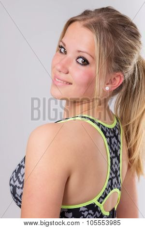 Portrait Of A Beautiful Young Blond Woman Ready For Workout.