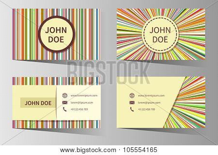 Business card vector templates with rainbow stripes design