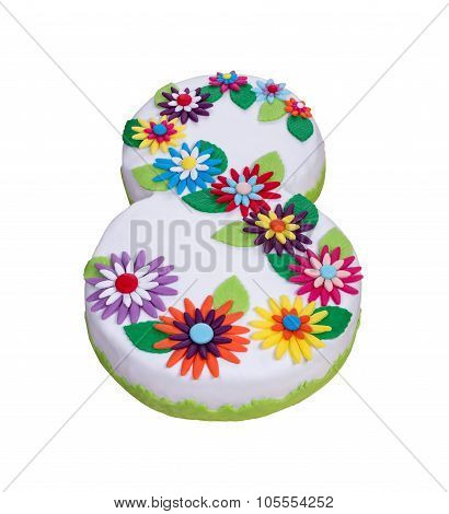 The Original Floral Cake On March 8. With Decorative Flowers.