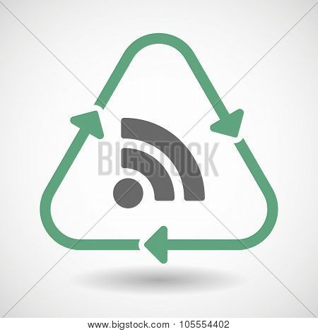 Line Art Recycle Sign Icon With An Rss Sign