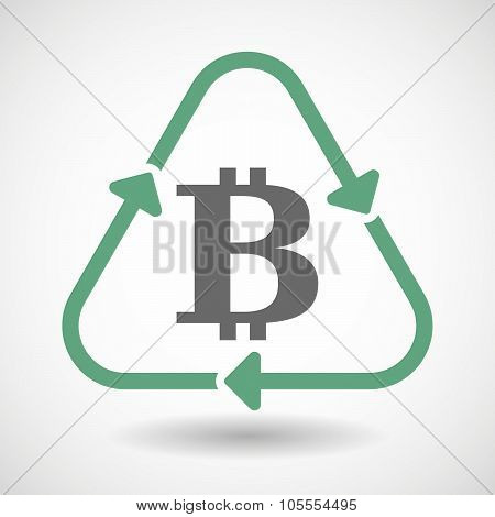 Line Art Recycle Sign Icon With A Bit Coin Sign