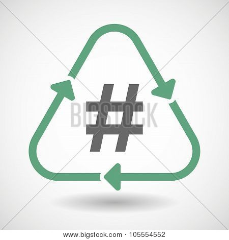 Line Art Recycle Sign Icon With A Hash Tag