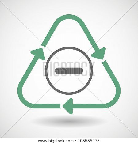 Line Art Recycle Sign Icon With A Subtraction Sign
