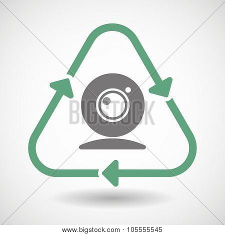 Line Art Recycle Sign Icon With A Web Cam
