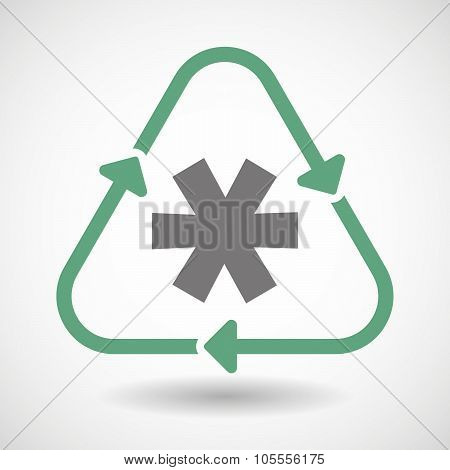 Line Art Recycle Sign Icon With An Asterisk