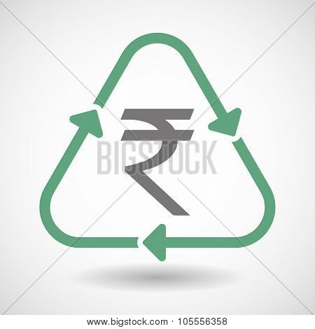 Line Art Recycle Sign Icon With A Rupee Sign
