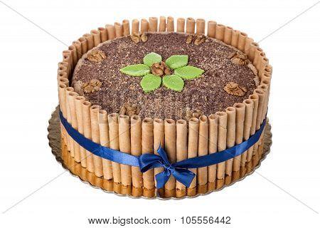 Sweet Chocolate Walnut Cake. On The Anniversary Of His Birthday.