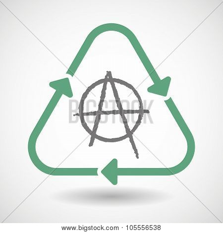 Line Art Recycle Sign Icon With An Anarchy Sign