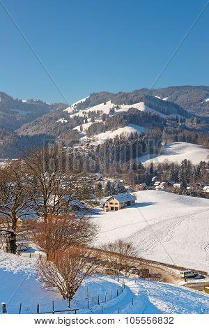 Beautiful Winter Landscape In The Region Of Gruyere