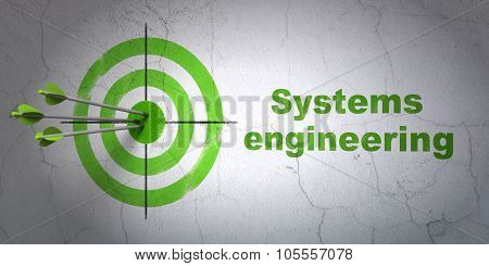 Science concept: target and Systems Engineering on wall background