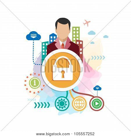Lock And Man On Abstract Colorful Background With Different Icon