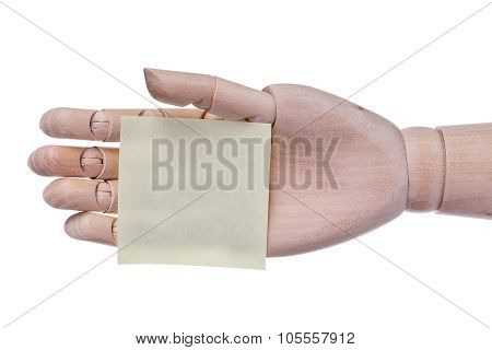 Wooden Hand Prosthesis Holds Sticker Frame For An Inscription. On A White Background.
