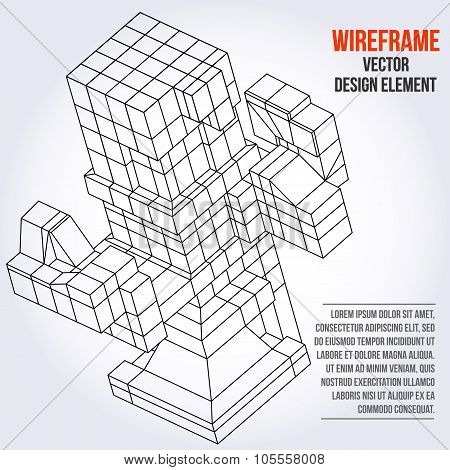 Wireframe Mesh Cubes.