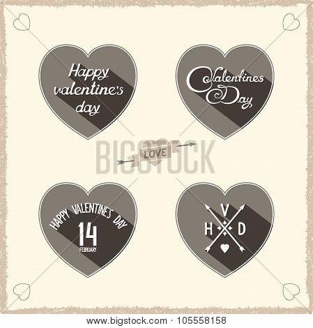 Retro flat Valentines symbol