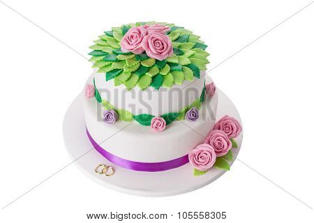 Magical Wedding Cake For The Newlyweds. On A White Background Close-up.