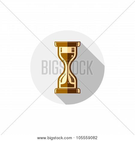 Time Conceptual Stylized Icon. Old-fashioned Hourglass Isolated On White, Vector Clock Pictogram.