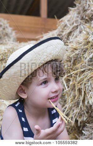 Farm Boy And Straw Portrait