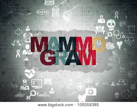 Health concept: Mammogram on Digital Paper background