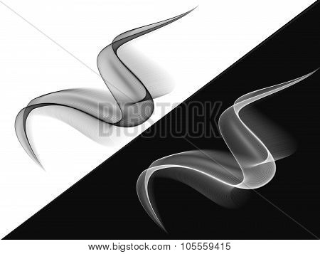 Black And White Waved Silk Abstract Background