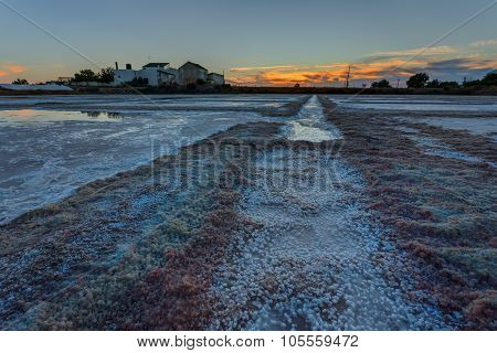 Portuguese Sea Salt Lakes. Sunset In The Evening.