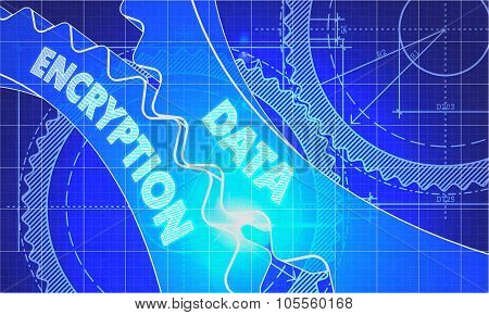 Data Encryption Concept. Blueprint of Gears.