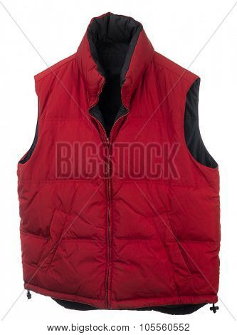 Red men's down vest isolated on white background.