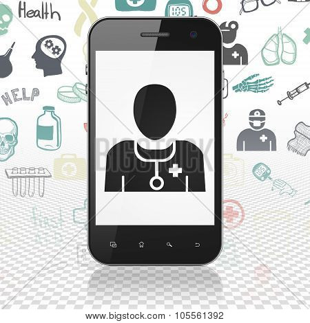 Health concept: Smartphone with Doctor on display