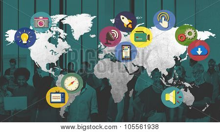 International Global Connect Globalization Cartography Concept