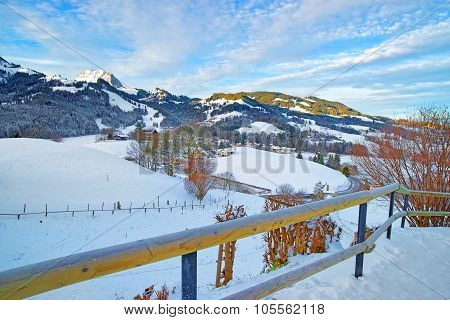 Beautiful Winter Landscape With Snow-covered Mountain Village