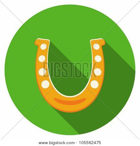 Flat Design Vector Horseshoe Icon With Long Shadow, Isolated