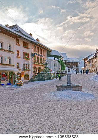 View Of The Market Place In The Swiss Village Gruyeres, Switzerland