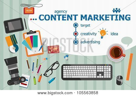 Content Marketing Design And Flat Design Illustration Concepts For Business Analysis