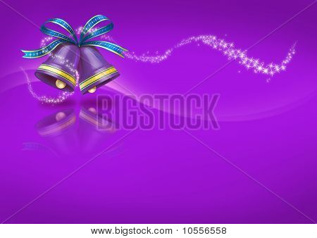 Christmas Bells on purple background