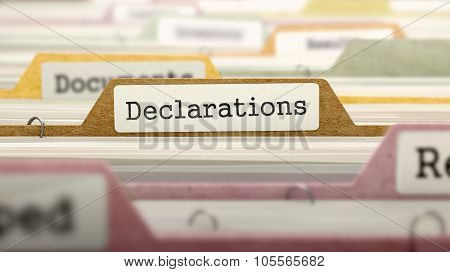 Declarations Concept on Folder Register.