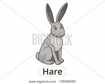 Forest animal hare cartoon for children vector