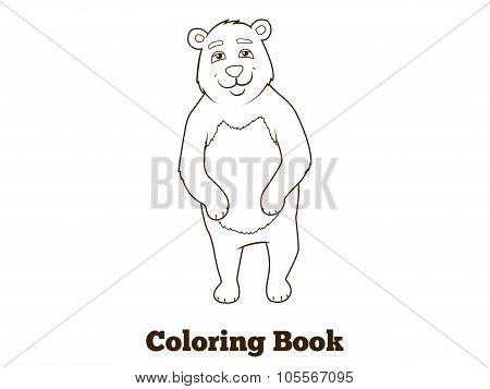 Forest animal bear cartoon coloring book vector