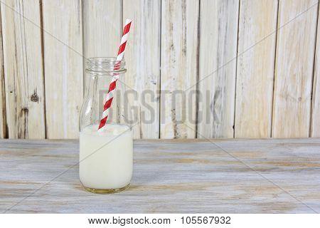 white milk in retro bottle