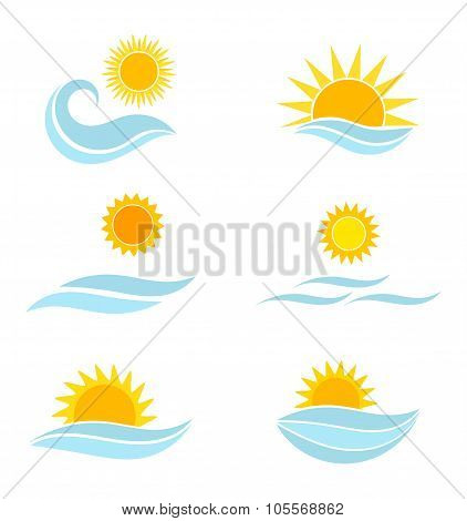 Sun And Sea Waves Icons