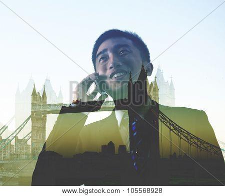 Businessman On The Phone Business Trip London Concept