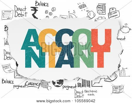 Currency concept: Accountant on Torn Paper background