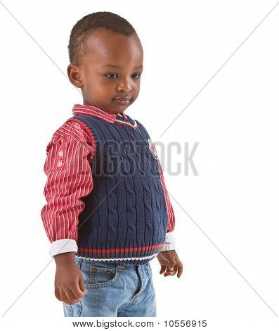 Cute Young Black Boy Looking